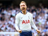 Tottenham Hotspur midfielder Christian Eriksen celebrates scoring against Everton on May 12, 2019