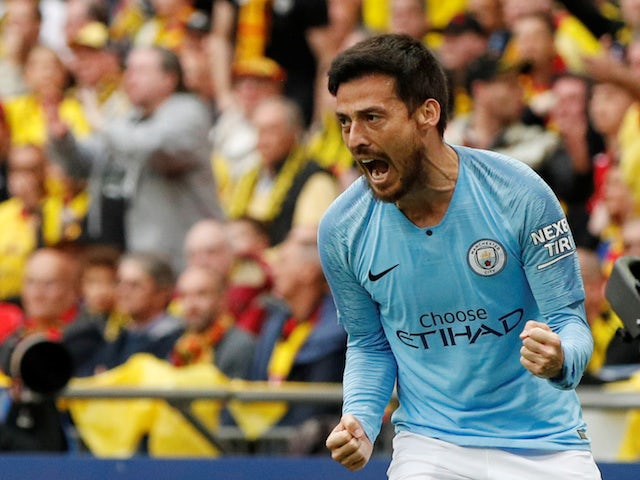 Manchester City midfielder David Silva celebrates opening the scoring in the FA Cup final against Watford on May 18, 2019