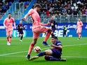 Barcelona's Sergi Roberto is challenged by Eibar's Jose Angel in La Liga on May 19, 2019