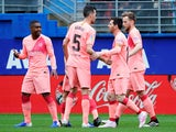 Barcelona's Lionel Messi celebrates scoring against Eibar in La Liga on May 19, 2019