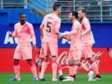 Barcelona's Lionel Messi celebrates scoring against Eibar in La Liga on May 19, 2019