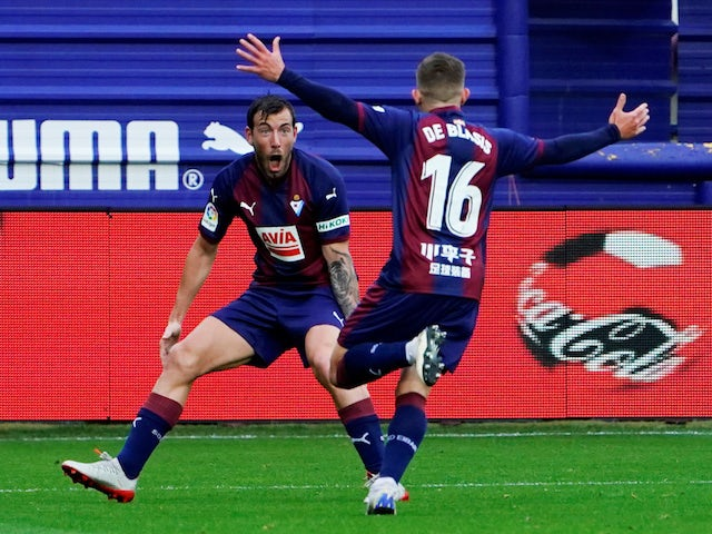 Eibar's Pablo De Blasis celebrates scoring against Barcelona in La Liga on May 19, 2019