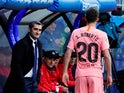 Barcelona boss Ernesto Valverde watches on during the La Liga clash against Eibar on May 19, 2019