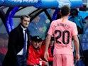 Barcelona boss Ernesto Valverde watches on during the La Liga clash against Eibar on May 19, 2019