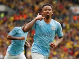 Manchester City's Gabriel Jesus celebrates scoring their fourth goal against Watford on May 18, 2019
