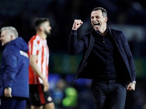 Sunderland manager Jack Ross celebrates after the final whistle against Portsmouth on May 16, 2019