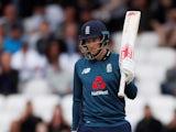 England's Joe Root celebrates a half century on May 19, 2019