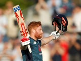 England's Jonny Bairstow celebrates his century against Pakistan on May 14, 2019