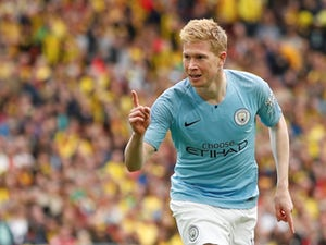 Manchester City's Kevin De Bruyne celebrates scoring their third goal against Watford in the FA Cup final on May 18, 2019