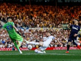 Derby County's Jack Marriott scores moments after coming off the bench in the Championship playoff semi-final second leg against Leeds United on May 15, 2019