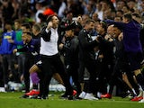 Derby County manager Frank Lampard celebrates his side's victory over Leeds United on May 15, 2019