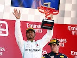 Lewis Hamilton celebrates winning the Spanish Grand Prix on May 12, 2019
