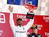 Lewis Hamilton celebrates winning the Spanish Grand Prix on May 12, 2019