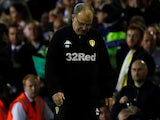 Leeds boss Marcelo Bielsa hangs his head after Leeds United are denied a spot in the Championship playoff final on May 15, 2019