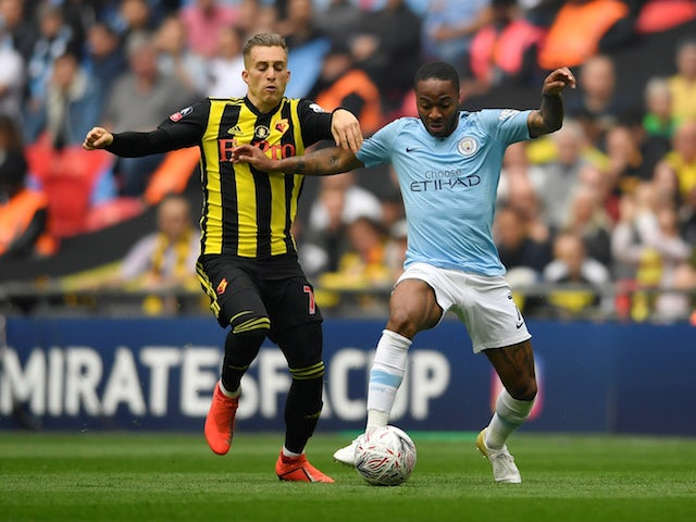 Manchester City's Raheem Sterling in action with Watford's Gerard Deulofeu during the FA Cup final on May 18, 2019