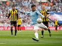 Manchester City midfielder David Silva scores in the FA Cup final against Watford on May 18, 2019