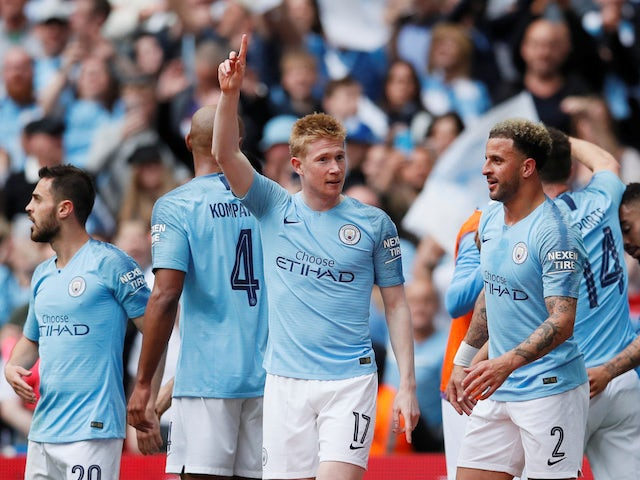 Manchester City's Kevin De Bruyne celebrates scoring their third goal of the FA Cup final against Watford on May 18, 2019