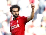 Liverpool's Mohamed Salah gives the thumbs up on May 12, 2019