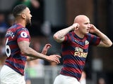 Newcastle United's Jonjo Shelvey celebrates scoring their first goal with Jamaal Lascelles on May 12, 2019