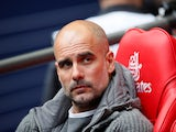 Manchester City manager Pep Guardiola watches on before the FA Cup final against Watford on May 18, 2019