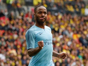 Manchester City's Raheem Sterling celebrates scoring their fifth goal against Watford on May 18, 2019