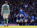 Rangers' James Tavernier celebrates with team mates after scoring their first goal against Celtic on May 12, 2019