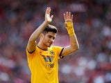 Raul Jimenez applauds the Wolves fans on May 12, 2019