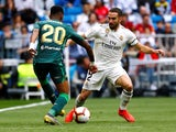 Real Madrid's Dani Carvajal in action with Real Betis's Junior Firpo in La Liga on May 19, 2019