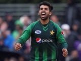 Shadab Khan in action for Pakistan in June 2018