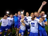 Tranmere Rovers's players celebrate reaching the final of the League Two playoffs on May 13, 2019