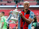 Manchester City captain Vincent Kompany celebrates winning the FA Cup on May 18, 2019