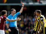 Watford's Jose Holebas is shown a red card by referee Chris Kavanagh on May 12, 2019