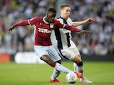 West Bromwich Albion's Stefan Johansen in action with Aston Villa's Axel Tuanzebe during the Championship playoff semi-final second leg on May 14, 2019