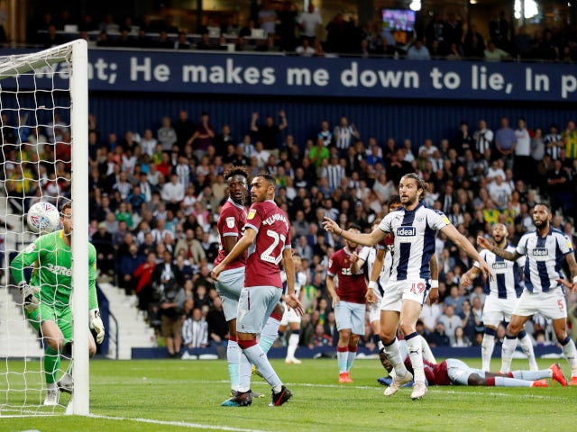 Craig Dawson opens the scoring for West Bromwich Albion in their Championship playoff semi-final second leg against Aston Villa on May 14, 2019