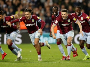 Aston Villa's players celebrate following their penalty-shootout triumph over West Bromwich Albion on May 14, 2019