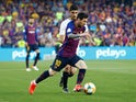 Barcelona's Lionel Messi in action against Valencia in the Copa del Rey final on May 25, 2019