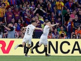 Valencia's Kevin Gameiro celebrates scoring against Barcelona in the Copa del Rey final on May 25, 2019