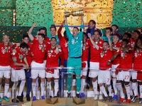 Bayern Munich celebrate winning the DFB-Pokal against RB Leipzig on May 25, 2019