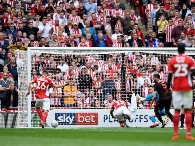 Ben Purrington converts at the back post to draw Charlton Athletic level against Sunderland in the League One playoff final on May 26, 2019