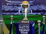 A general shot of the Cricket World Cup trophy