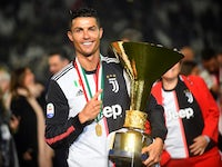 Cristiano Ronaldo celebrates winning the Serie A with Juventus on May 19, 2019