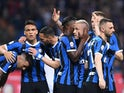 Inter Milan's Radja Nainggolan celebrates scoring their second goal against Empoli with Keita Balde and teammates on May 26, 2019