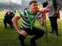 Celtic's Kieran Tierney pops a squat on May 19, 2019