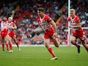 St Helens' Lachlan Coote scores a try against Castleford Tigers on May 26, 2019