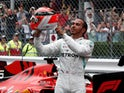 Lewis Hamilton celebrates winning the Monaco Grand Prix on May 26, 2019