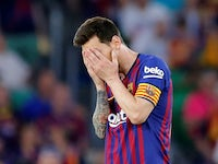 Barcelona's Lionel Messi reacts as Valencia score their second in the Copa del Rey final on May 25, 2019