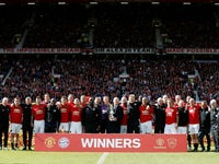 Manchester United legends celebrate after beating Bayern Munich in a repeat of the 1999 Champions League final on May 26, 2019
