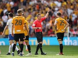 Newport County's Mark O'Brien is shown a red card in the League Two playoff final against Tranmere Rovers on May 25, 2019