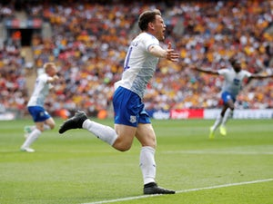 Connor Jennings celebrates after scoring the only goal in the League Two playoff final between Tranmere Rovers and Newport County on April 25, 2019