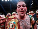 Andy Ruiz Jr celebrates taking Anthony Joshua's belts on June 1, 2019